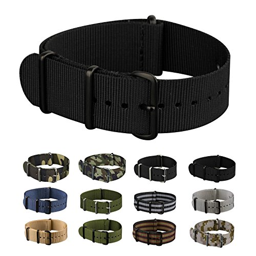 INFANTRY+20mm+Nato+Nylon+Canvas+Fabric+Black+Watch+Band+Replacement+Interchangeable+Brushed+Buckle+bands
