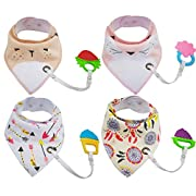 Baby Bandana Bibs With Teether Toys Set 4 Pack 100% Cotton Soft and Absorbent Theething Bibs with Adjustable Snaps