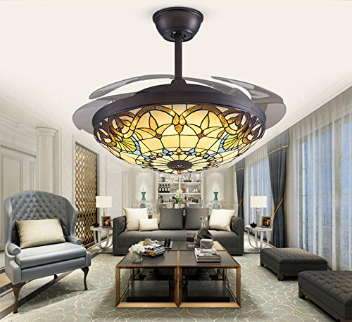 Yue Jia 42 Inch Promoting Natural Ventilation Black Invisible Fan Modern Luxury Dimmable (Warm/Daylight/Cool White) Chandelier Foldable Ceiling Fans With Lights Ceiling Fans with Remote Control by YUEJIA (Image #3)