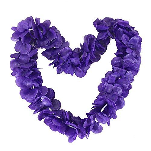 - Tropical Hawaiian Luau Ruffled Simulated Silk Flower Leis Party Favor Pack of 10-Purple