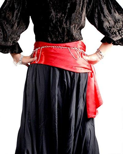 Pirate Buccaneer Renaissance Medieval Costume Bandana Sash (Red) ()