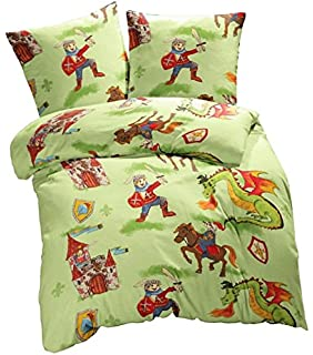 Aminata Kids Kinderbettwäsche 135x200 Ritter Fein Biber Bettwäsche