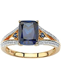 Emerald-Cut Lab Created Blue Sapphire and CZ 18k Gold over .925 Sterling Silver Split-Shank Ring