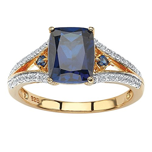 (Emerald-Cut Lab Created Blue Sapphire and CZ 18k Gold over .925 Sterling Silver Split-Shank Ring Size 6)
