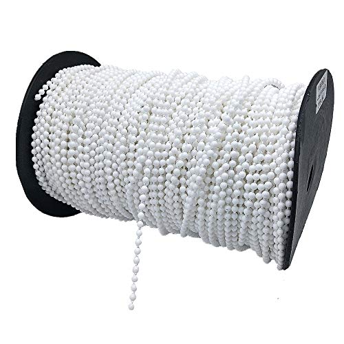 (YEQIN Roller and Roman Shade Blind Beaded Chain Cord,White Plastic Roller Blind Chain Repair,Roller Curtain Bead Rope,Blind Beaded Cord for Roller Blind Fitting(10 Yards))