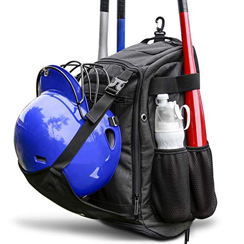 ZOEA Baseball Bat Bag Backpack, T-Ball & Softball Equipment & Gear for Youth and Adults | Large Capacity Holds 4 Bats, Helmet, Glove, Shoes | Shoe Compartment & Fence Hook & Helmet Holder Black