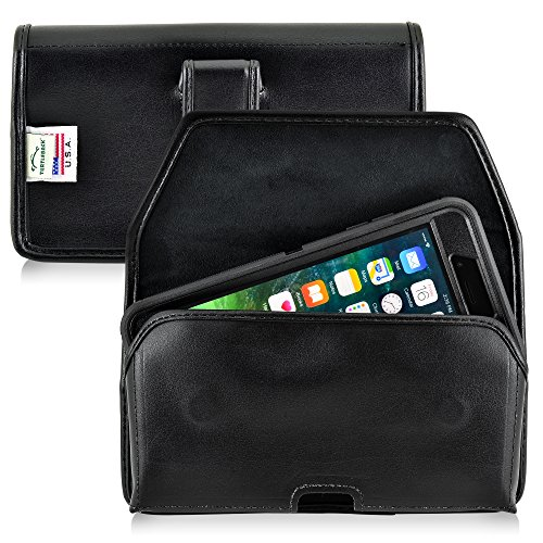 Turtleback Holster Compatible with Apple iPhone 8 Plus & iPhone 7 Plus w/Otterbox Defender case Black Belt Case Leather Pouch with Executive Belt Clip Horizontal Made in USA
