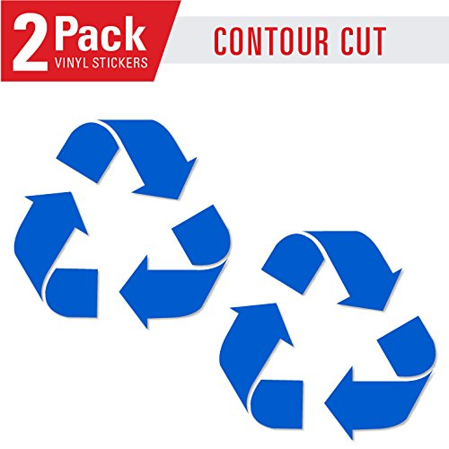 Recycle symbol sticker decal (5in x 5in 2 PACK) to organize trash cans or garbage containers and walls -Countour Cut - Small BLUE sticker (Symbol Recycle)