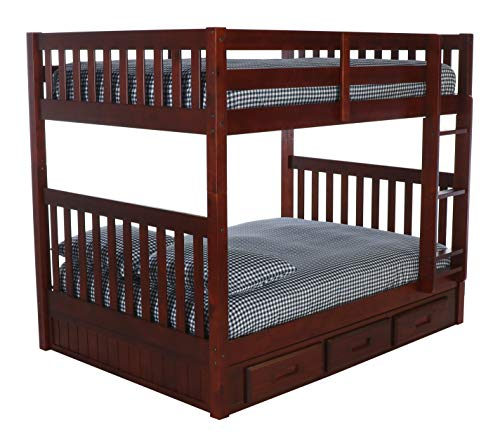 Discovery World Furniture Mission Full Over Full Bunk Bed with 3 Drawers, Desk, Hutch, Chair and 5 Drawer Chest in Merlot Finish