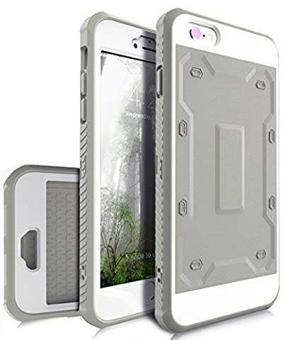 iPhone 6 Plus Case,iPhone 6s Plus Case,TIANLI [Slim] High Impact Protective Dual Layer Hybrid Case [Shockproof] With Built In Screen Protector For iPhone 6 Plus,iPhone 6s Plus 5.5 inch,Grey/White