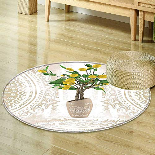 Round Area Rug Carpet Floral Lemon Tree Traditional Tiles Paisley Vintage Style tapestry Floral Flowerpot Ceramic Vase Pattern Theme Beige Yellow Green Room Bedroom Hallway Office Carpet R-47