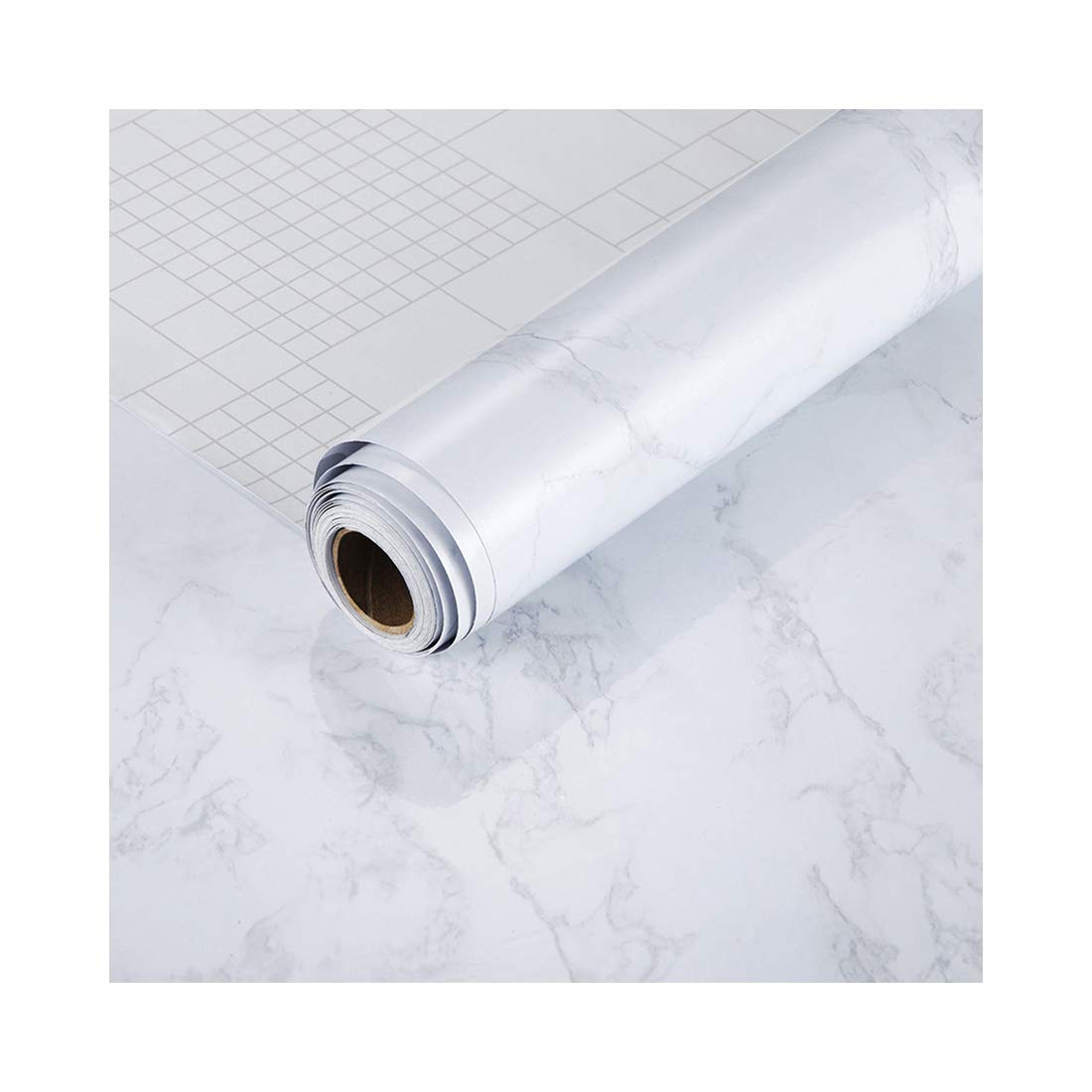 11.8'' x196.8''(16.2sq.ft) Marble Contact Paper-Self Adhesive Contact Paper Roll Granite Gray/White Vinyl Wallpaper Kitchen Anti-Oil Stickers Countertop Cabinet Furniture Renovated Waterproof Practical