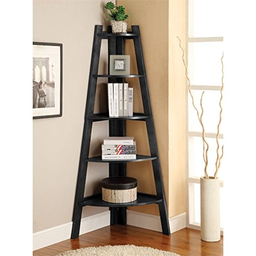 Furniture of America Lawler 5 Shelf Corner Bookcase in Black by Furniture of America