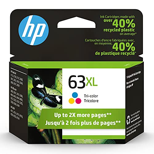 Cartucho de tinta tricolor de alta capacidad original HP 63XL | Funciona con HP DeskJet 1112, 2100, 3600 Series, HP ENVY 4500 Series, HP OfficeJet 3800, 4600, 5200 Series | Elegible para Instant Ink | F6U63AN