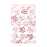 "888 Display USA, Inc 200 pcs 5"" x 7"" Flower Paper Gift Bags Shopping Sales Tote Bags White with Pink Red Flower Design"