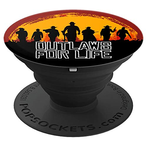 Outlaws For Life - Red Sunset Cowboys Redemptions RDR2 Style - PopSockets Grip and Stand for Phones and Tablets