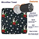 NFDF Border Collie Christmas Square Bath Towel, 13 Inch Washcloth Multipurpose Use for Sports, Travel, Bath, Beach, Kitchen 7