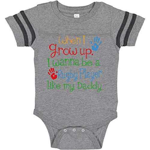 inktastic - Rugby Player Infant Creeper Newborn Football Heather and Smoke 24644