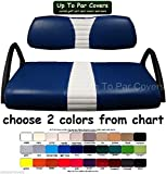 Club Car DS 2000+ Custom Golf Cart Front Seat Cover Set PLUS Rear Seat Cover Set Combo - ONE STRIPE STAPLE ON