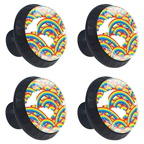- jessgirl Cartoon Rainbow Island Pattern Drawer Knobs Handles Pulls for Cupboard Dresser Office with Screws DIY(Pack of 4)