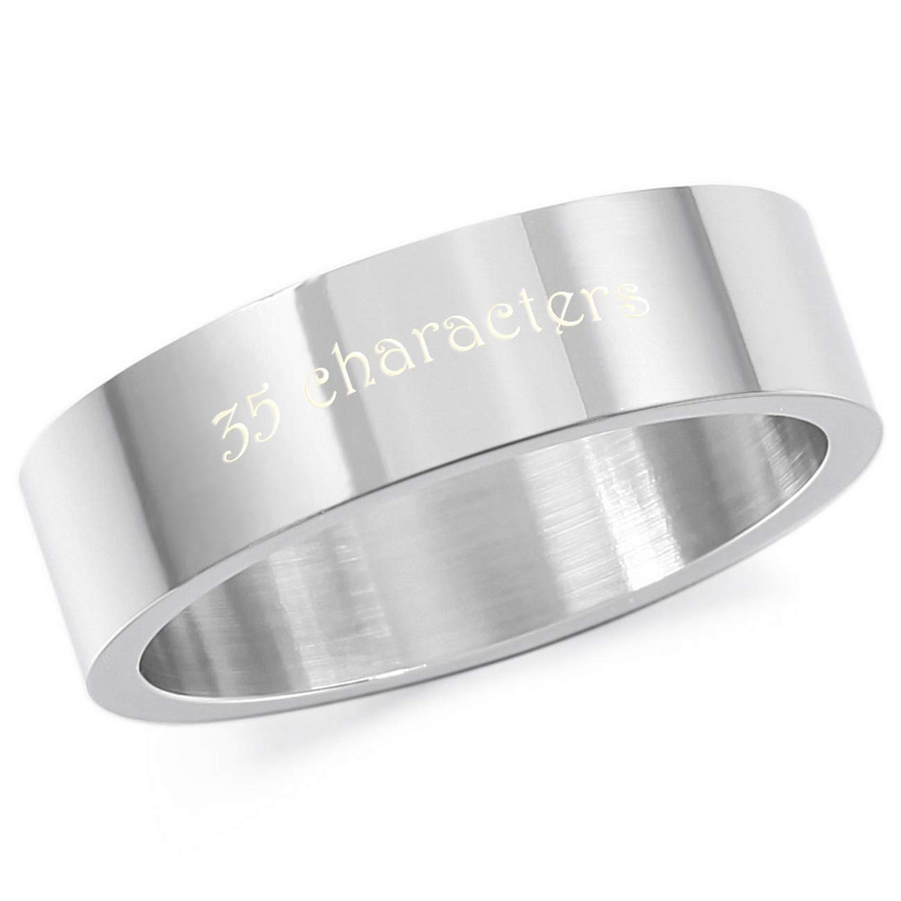 MeMeDIY 6mm Silver Tone Stainless Steel Ring Wedding Band Size 10 - Customized Engraving by MeMeDIY (Image #1)