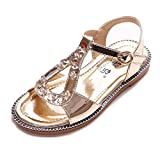 GIY Girls' Squeaky Sandals Closed-Toe Summer Solid Rhinestone Outdoor Sport Casual Shoes