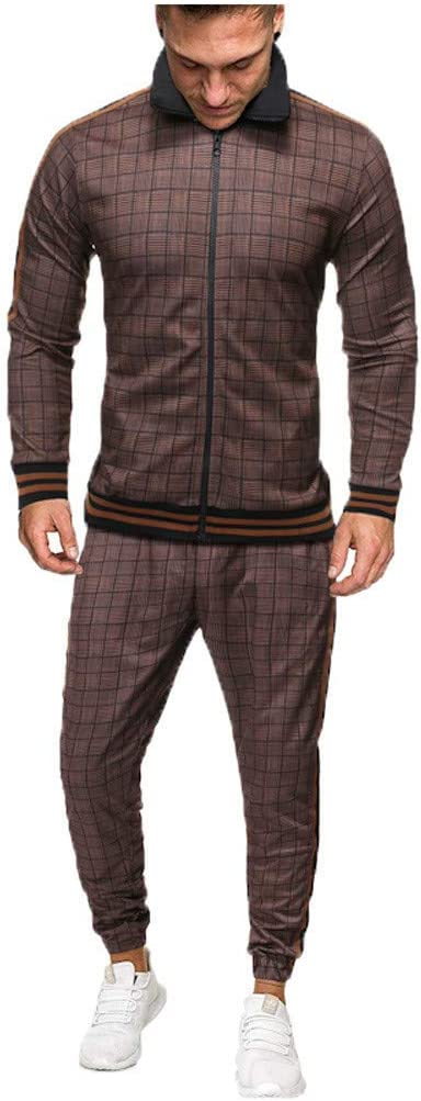 BBTshop Mens Sports Suit Top Pants Sets Tracksuit 2019 Men Plaid Printed Zipper Sweatshirt Sports Jacket Sweater Winter Warm Coat Outwear Trench Sweater Tops Overcoat Cardigan Long Sleeve Blouses