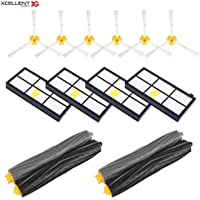 Xcellent Global 14pcs Accessories for iRobot Roomba 800 870 880 960 980 Replacement Parts Spare Brushes Kit,4pcs Hepa Filters,6pcs Side Brushes,2 Pair of Debris Extractors