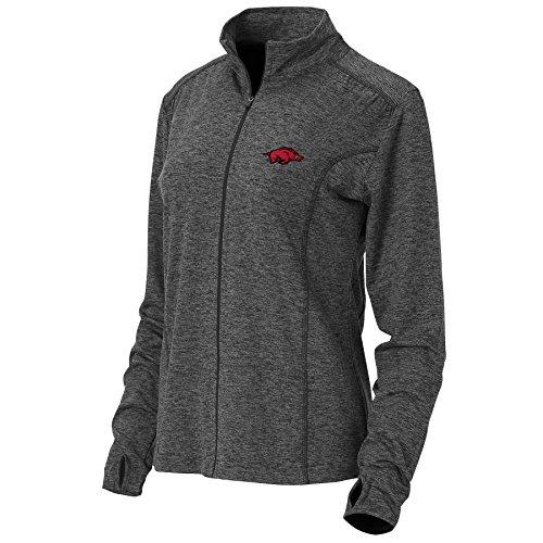 Ouray Sportswear NCAA Arkansas Razorbacks Womens NCAA University of Arkansas Women's Swerve Full Zip Jacket, Charcoal, 2X