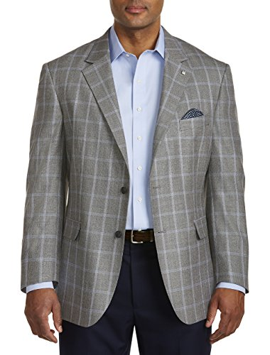 Oak Hill by DXL Big and Tall Jacket-Relaxer Textured Windowpane Sport Coat Executive Cut by Oak Hill
