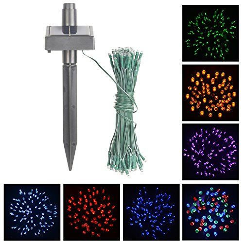 100 Blue Solar Powered Led Outdoor String Fairy Lights - 6