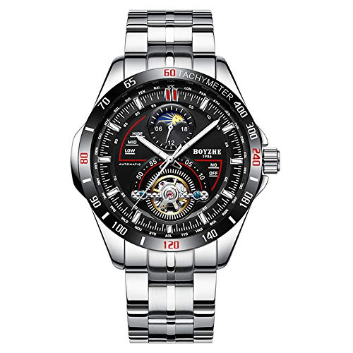 Mechanical Stainless Steel Wrist Watch - BOYZHE 2018 Mens Mechanical Watch Waterproof Tourbillon Wrist Watch Stainless Steel Leather Sport Military Automatic Watches for Men Relojes de Hombre