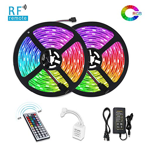 LUNSY LED Strip Lights, 32.8foot Waterproof IP65 5050 SMD RGB LED Flexible Strip Light, Color Changing Decoration Lighting 44 Key RF Remote Controller, UL Approved Power Adapter