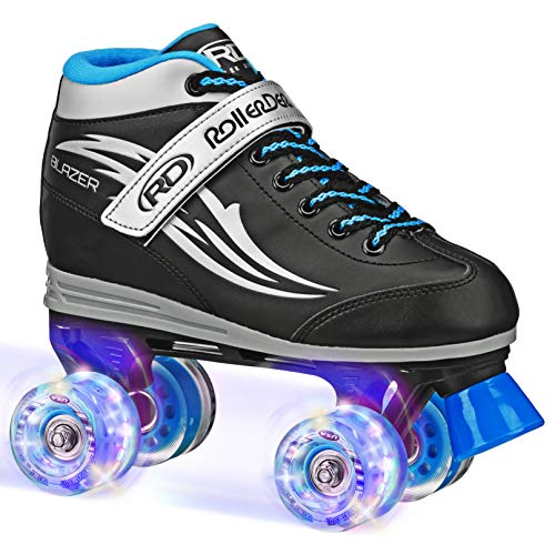 Roller Derby Boys Blazer Lighted Wheel Roller Skate, Black, Size 5