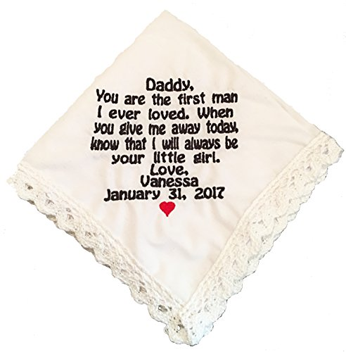 Father Of The Bride Lace Edged Handkerchief- Wedding Gift- by Wedding (Lace Edged Handkerchief)