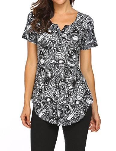 Henley Shirts for Women,Short Sleeve V Neck Pleated Summer Casual Flare Tunic Shirts Black 2,XL
