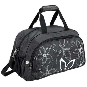 "20"" Fashionable Flowers Pattern Black Sports Gym Tote Bag Travel Carryon"