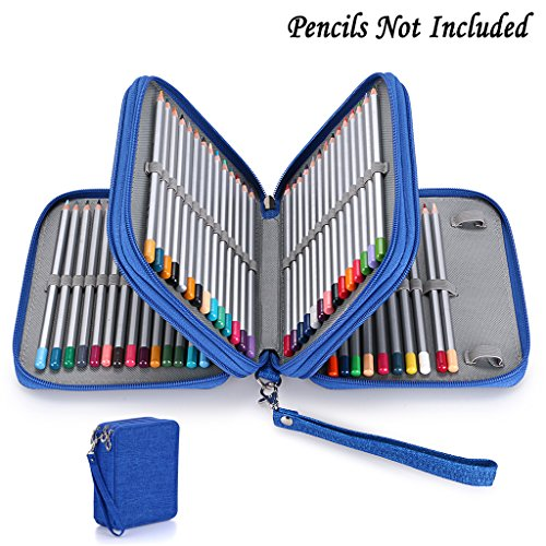BTSKY Zippered Pencil Case-Canvas 72 Slots Handy Pencil Holders for for Prismacolor Watercolor Pencils, Crayola Colored Pencils, Marco Pencils (Blue)