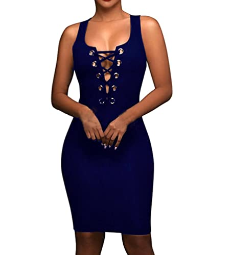 Aierbulu Womens Club Dress Hollow Out Bandage V Neck Midi Cocktail Party Dresses