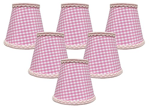 (Royal Designs, Inc CSO-1043-5GO-6 Royal Designs Pink Gingham Empire Chandelier Lamp Shade with Decorative Trim, 3