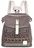 ArcEnCiel Women Girl Backpack Purse Canvas Rucksack Shoulder Bag (Gray) Review