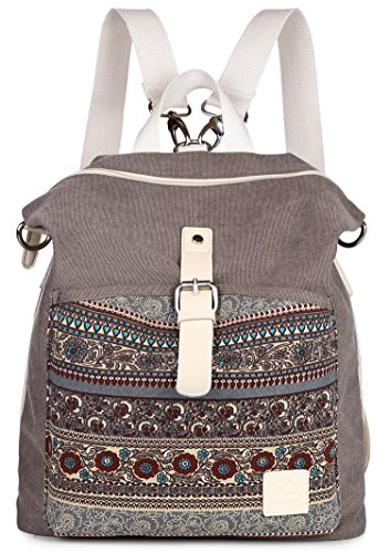 ArcEnCiel Women Girl Backpack Canvas Rucksack Shoulder Bag ()