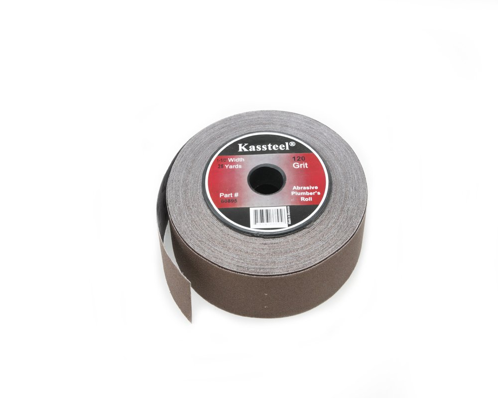 Kassteel 66895 Aluminum Oxide Abrasive Plumber's Roll 120 Grit, 1-1/2'' x 25 yd,