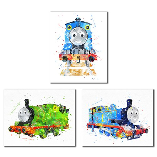 Thomas and Friends Watercolor Train Prints - Set of 3 (8 inches x 10 inches) Wall Art Decor Photos - Thomas The Tank - Percy The Small Engine]()