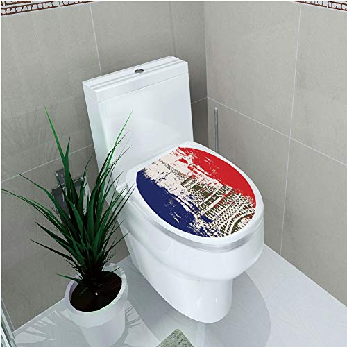 "Toilet Sticker 3D Print Design,Paris,Grunge Style French Flag with Eiffel Tower City of Love in Retro Colors Europe,Red Blue Beige,for Young Mens,W12.6""xH15.7"""