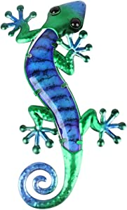 Liffy Metal Gecko Outdoor Wall Art Glass Lizard Decor Blue Garden Decorations for Patio or Door, 14.8 Inches Long