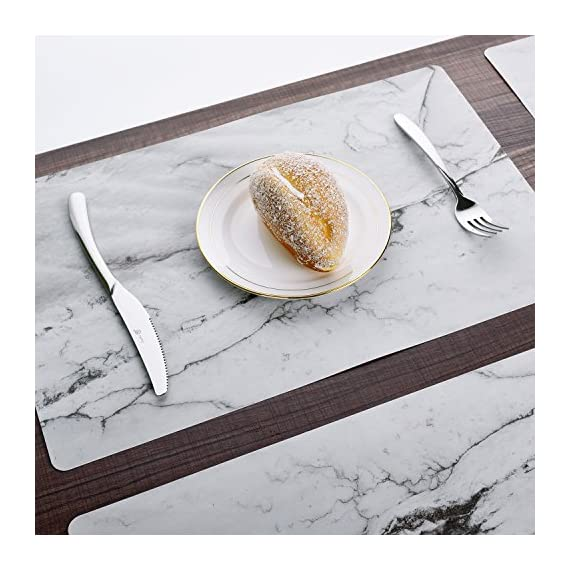 GENNISSY Marble Placemats for Dining Table Set of 6, Thin Environmental Materials Easy Clean for Kitchen Dinner Party((Marble) - 1.PP MATERIAL:Most seller chose PVC or Woven Vinyl, but we use different one, which is more environmental friendly and does no harm to our health. They might look really thin, but they are really heat resistant and can protect the table from scratches and stain. 2.WATERPROOF AND AIL RESISTANT:When the placemat is oiled, just wipe it with a damp cloth. It's no mold, matte finish.cleaning is also very convenient, the surface of the matte design makes your placemat wash with water and clean as new.placemat can be rolled up, but can not be folded. 3.INSULATION AND HIGH TEMPERATURE RESISTANCE, the product can withstand temperatures up to 248°F, good heat insulation. - placemats, kitchen-dining-room-table-linens, kitchen-dining-room - 51yn5RmkZJL. SS570  -