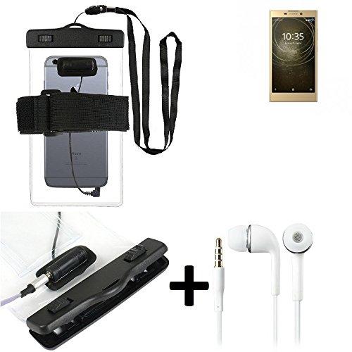 Estuche estanco al agua con entrada de auriculares para Sony Xperia L2 Dual-SIM + auricular incluido, transparente   Trotar bolsa de playa al aire libre caja brazalete del teléfono caso de cáscara baj