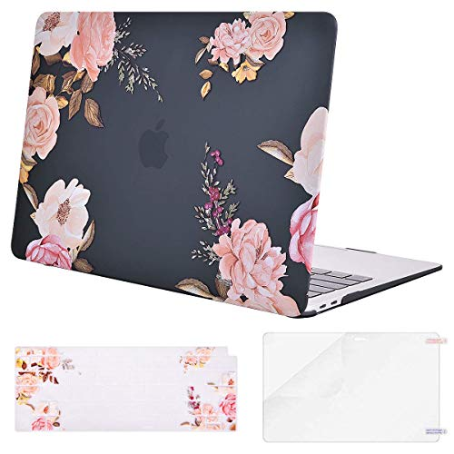 MOSISO MacBook Air 13 Inch Case 2019 2018 Release A1932 with Retina Display,Plastic Pattern Hard Shell & Keyboard Cover & Screen Protector Only Compatible Newly MacBook Air 13, Peony Blossom