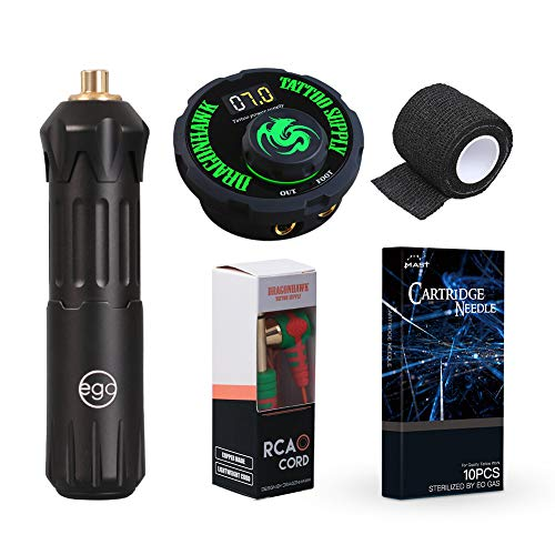 Ego Rotary Tattoo Machine Switch Pen Style Machine Power Supply Mast Cartridges RCA Cord (Machine) (Best Numbing Cream For Tattoos Uk)